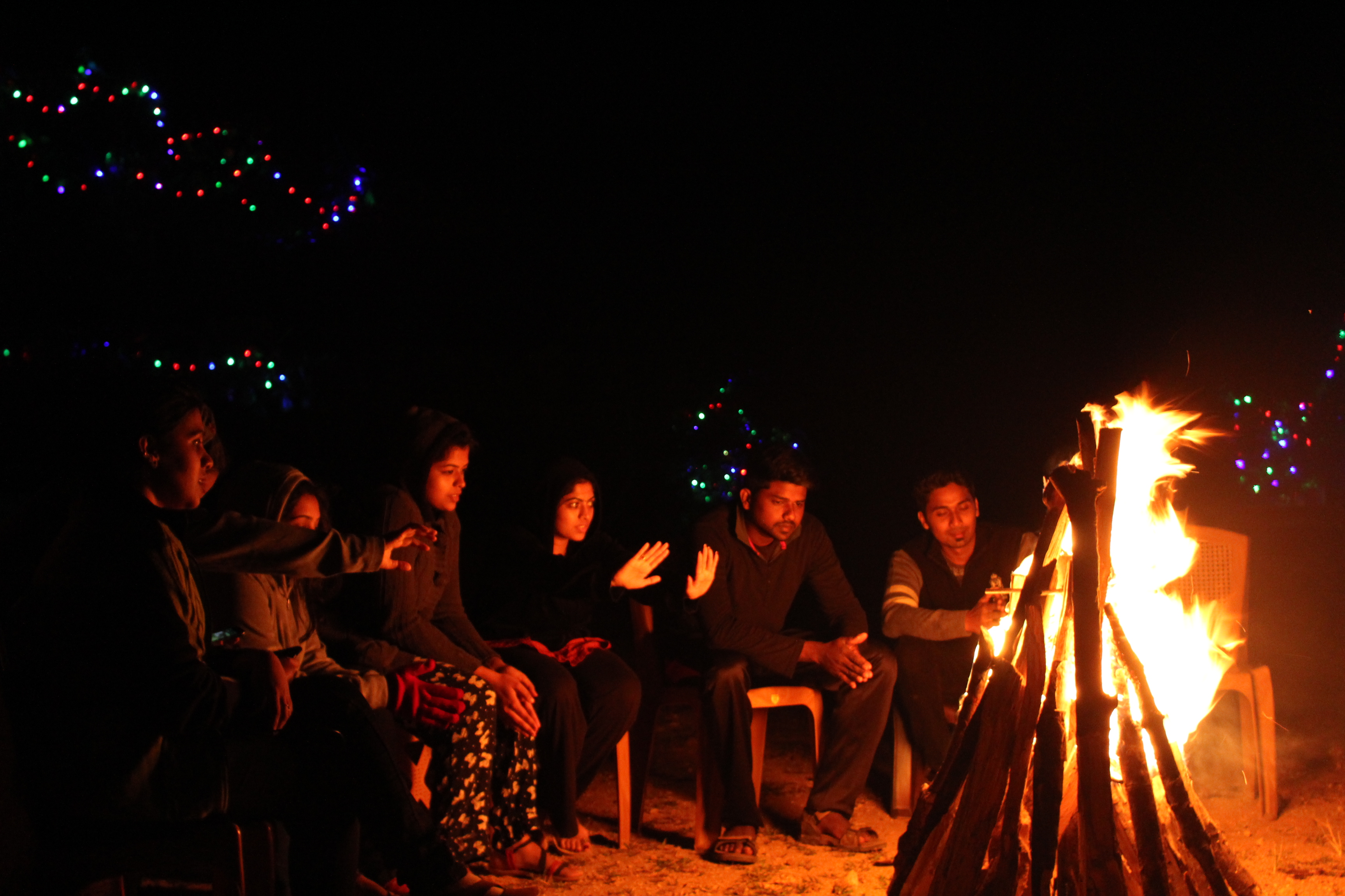 Wellness Tourism. Campfire at Camp Woody