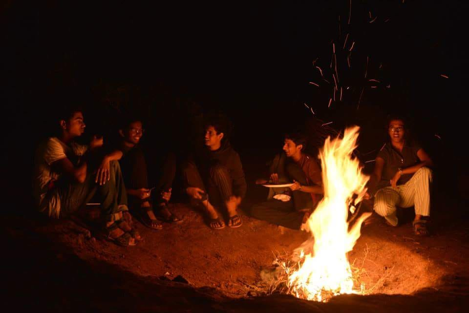 Risks of Camping. Campfire at Thangalpara Top Camp, Vagamon