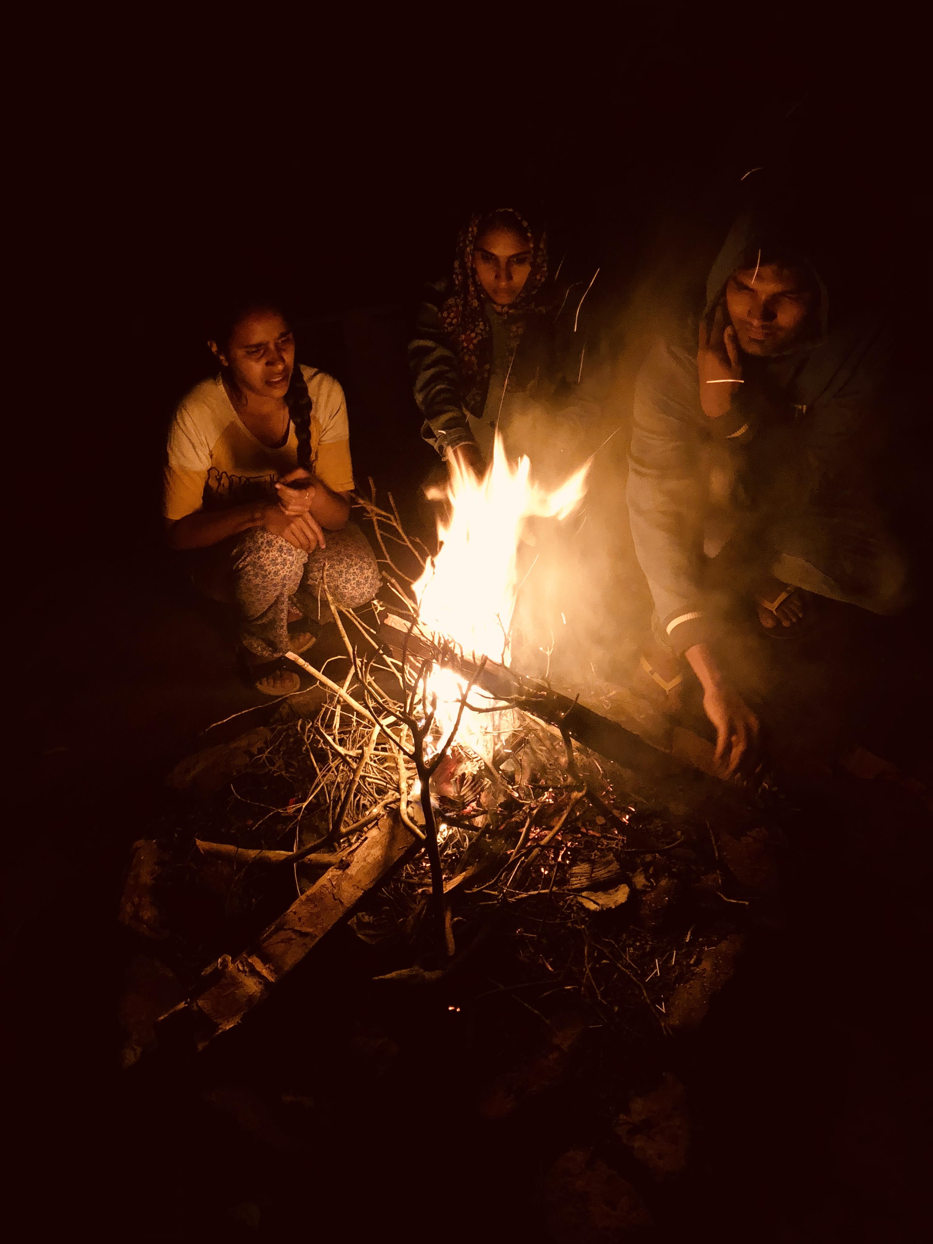 Camping at Ooty. Campfire