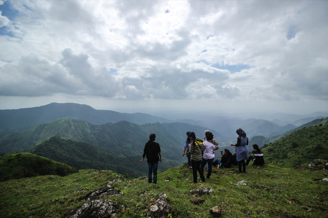 Girls camping from Thangalpara Top Camp, Vagamon