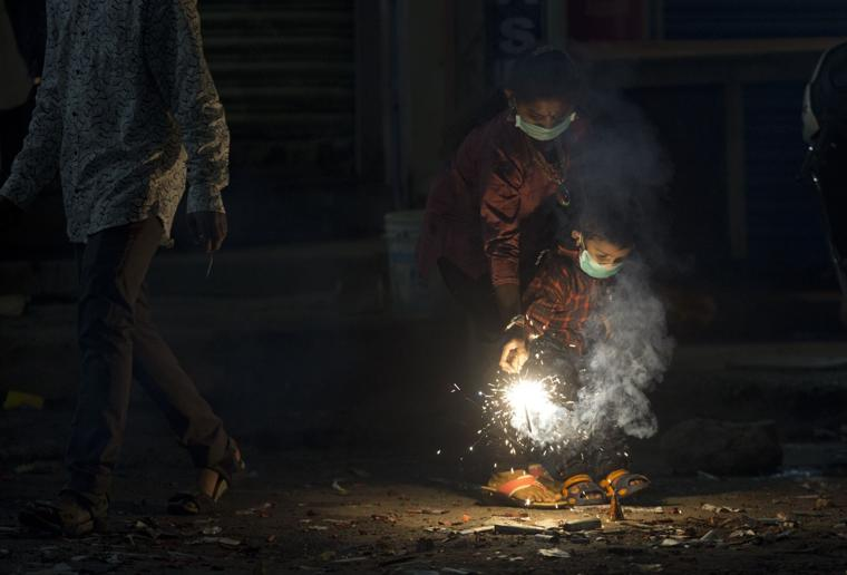 Indians bursting firecrackers